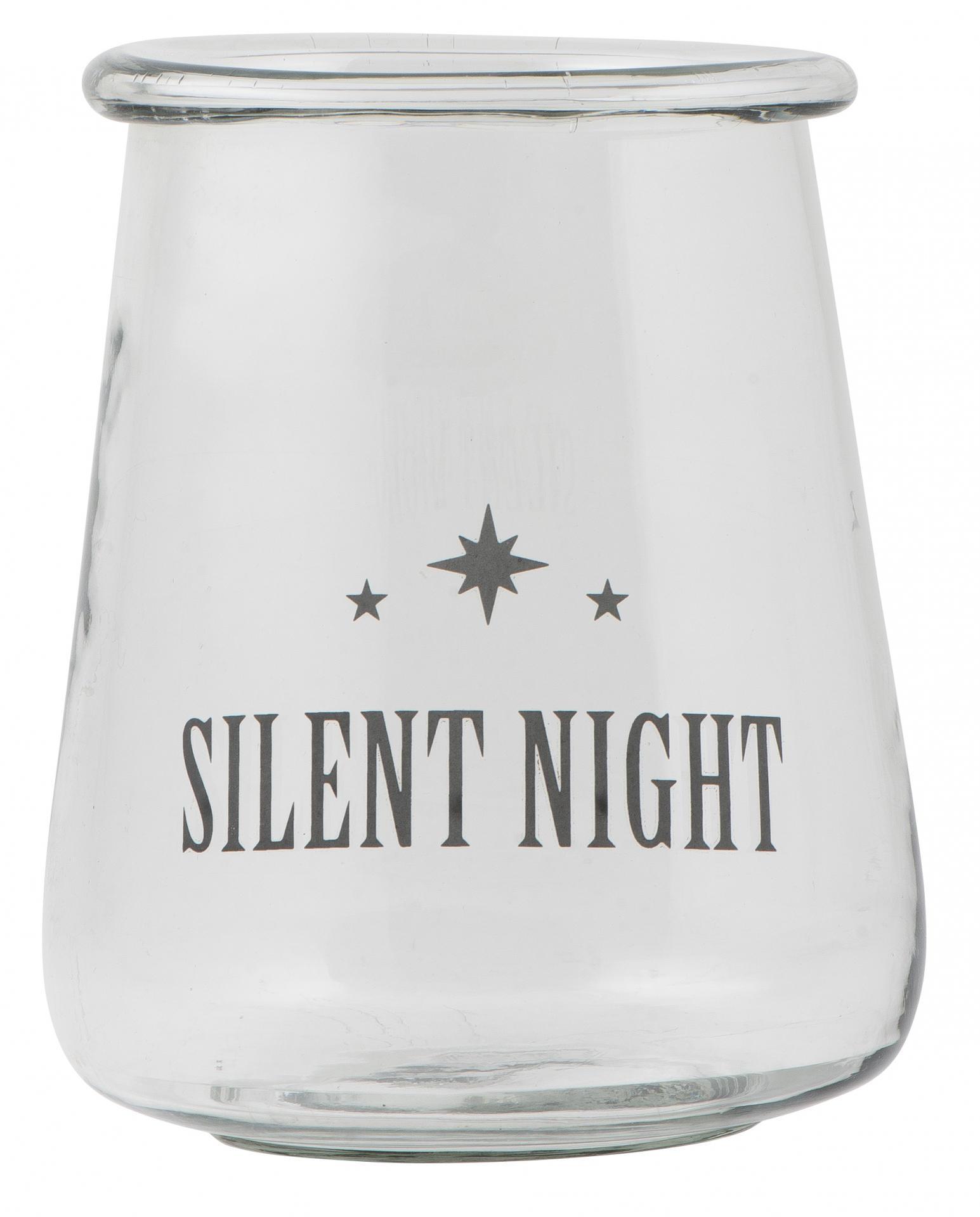IB LAURSEN Svícen Silent night 20 cm, čirá barva, sklo