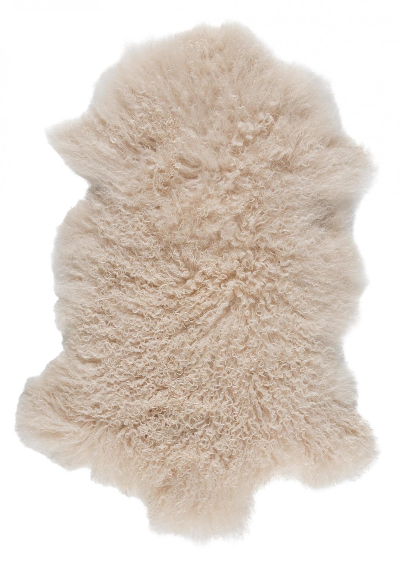 IB LAURSEN Tibetská ovčí kožešina Cream, krémová barva, kožešina Krémová