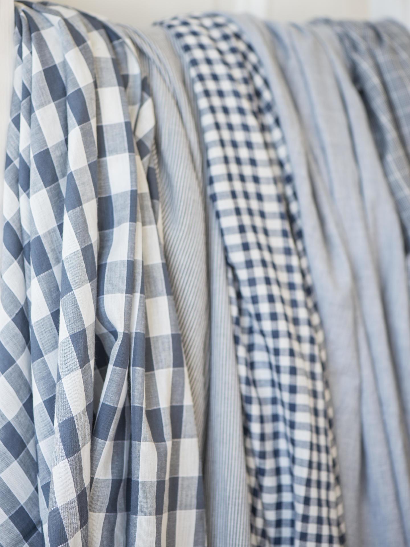 IB LAURSEN Dámský šátek s třásněmi Blue checkered/striped Typ A, modrá barva, textil