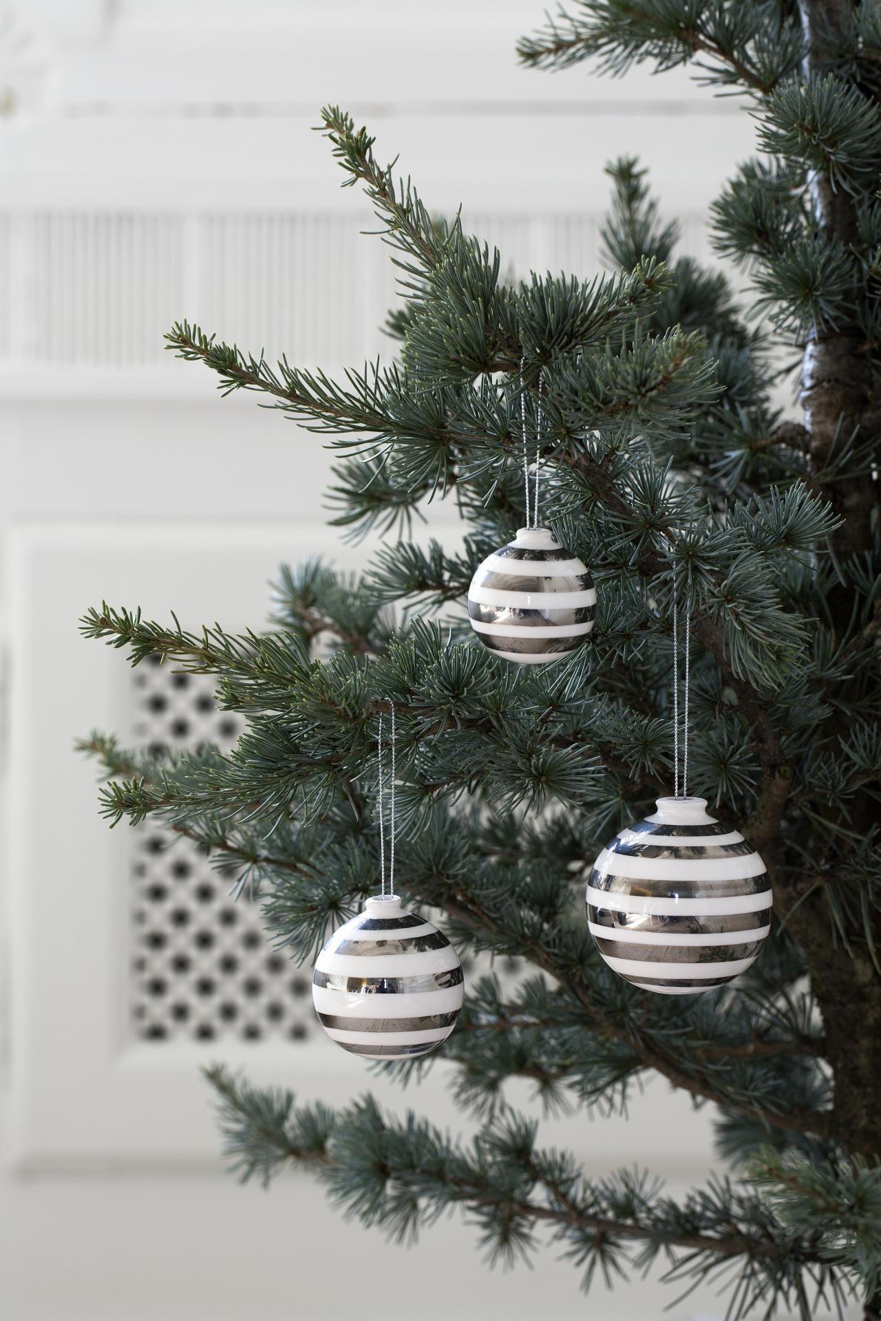 Kähler Keramické vánoční ozdoby Omaggio Silver - set 3 ks