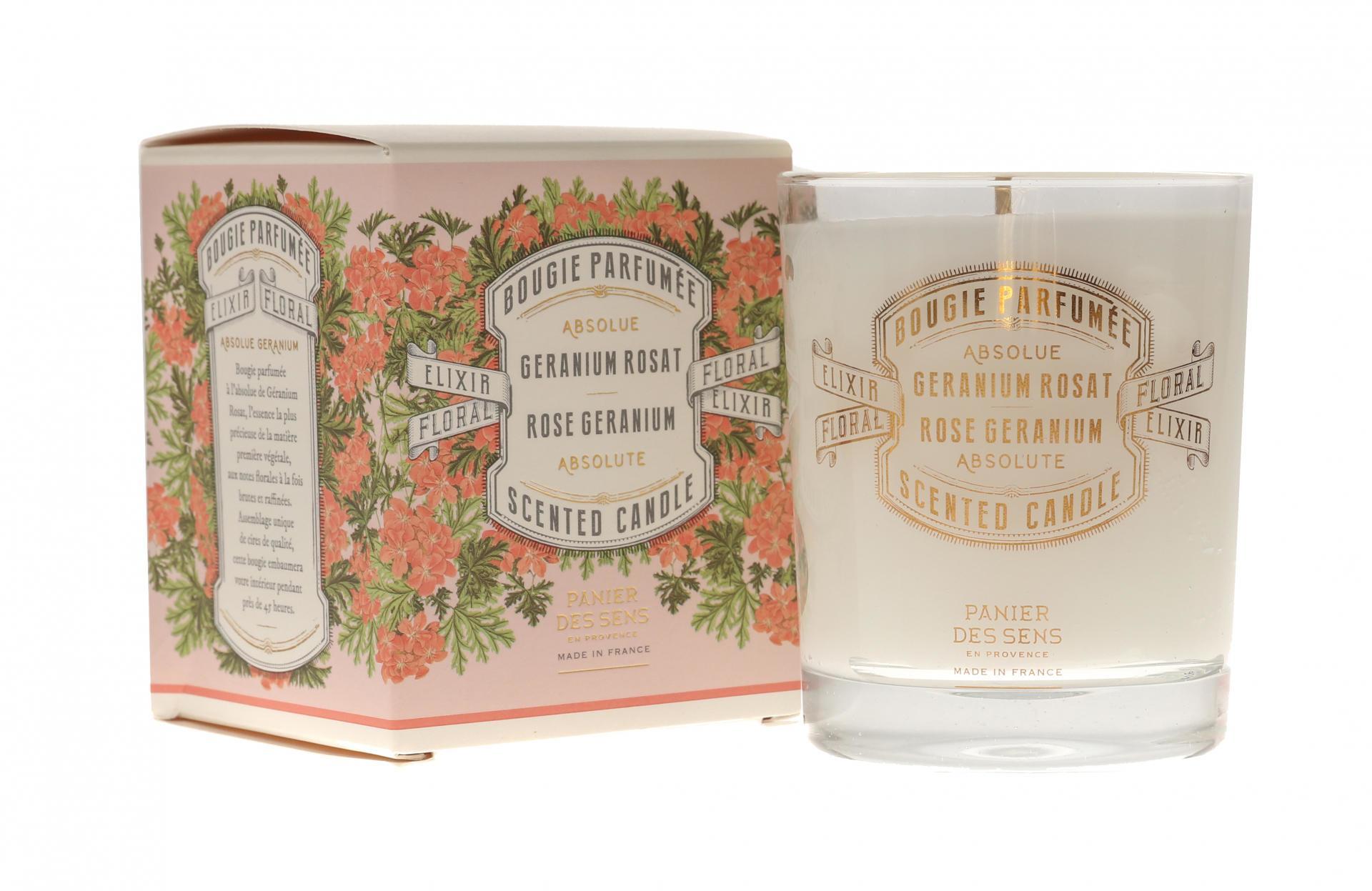 Panier des Sens Vonná svíčka Panier des Sens - Rose Geranium, růžová barva, bílá barva, zlatá barva, krémová barva, sklo, papír