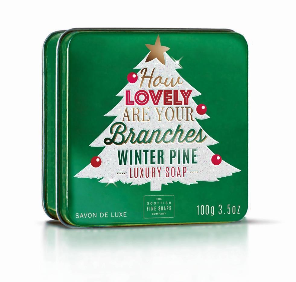 SCOTTISH FINE SOAPS Mýdlo v plechové krabičce Lovely Branches 100 g, zelená barva, kov