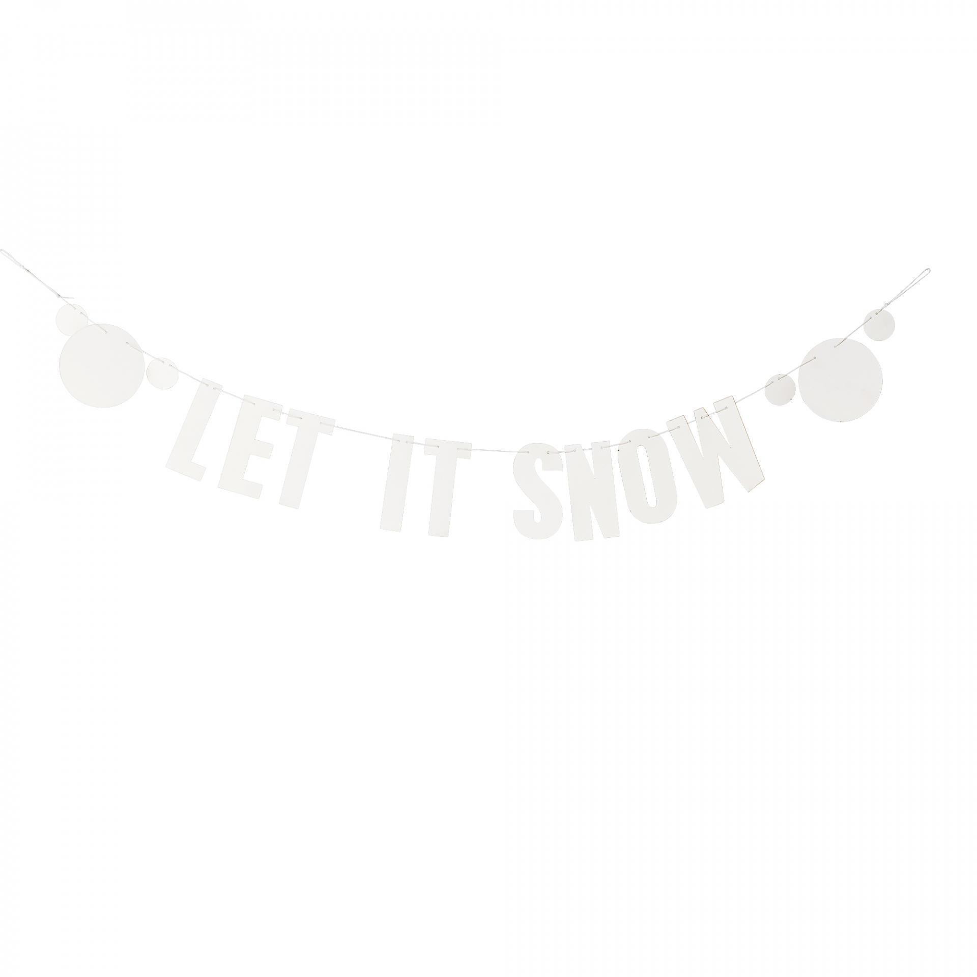 Bloomingville Vánoční girlanda Let it Snow, bílá barva, papír