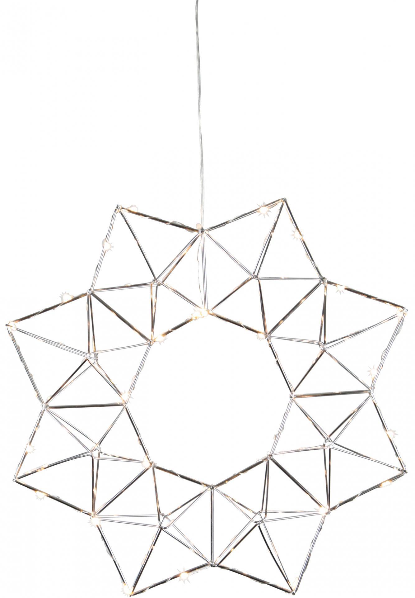 STAR TRADING Kovový svítící věnec Geometry Chrome, stříbrná barva, kov