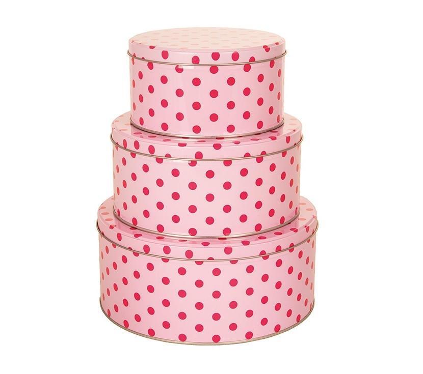 Blossom Plechové dózy Dot Pink - 3 ks