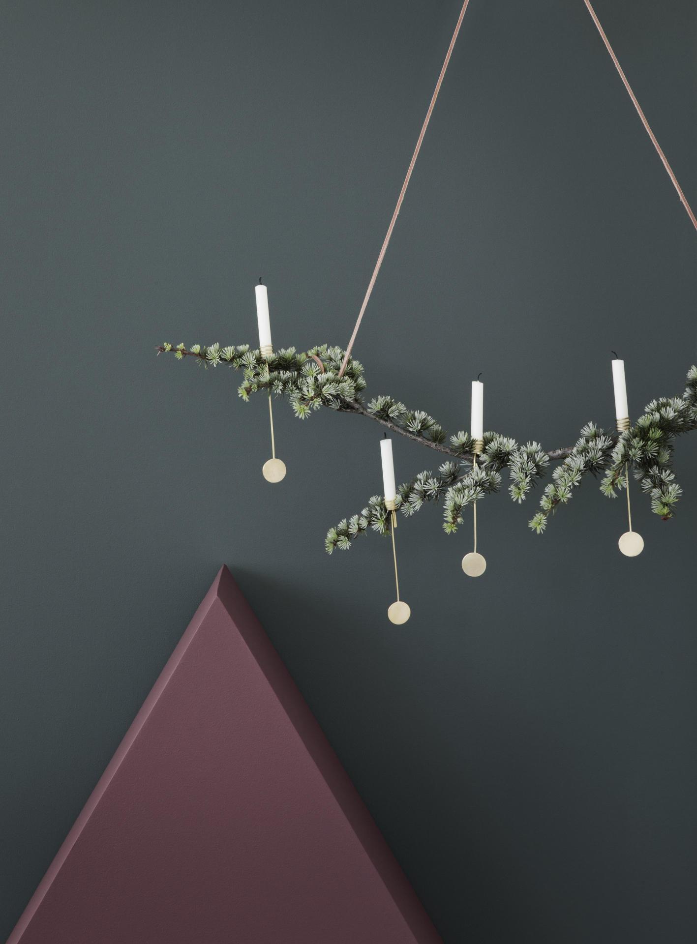 ferm LIVING Vánoční svícny na stromek Christmas Tree, zlatá barva, kov