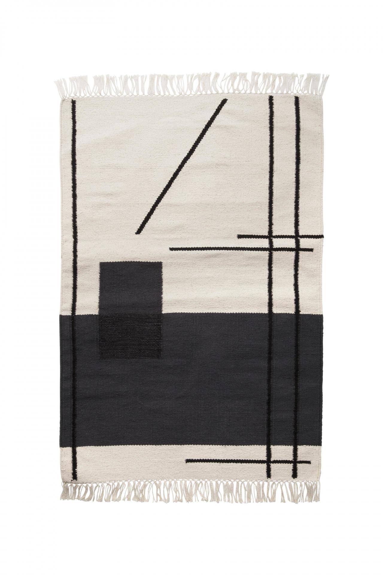 ferm LIVING Bavlněný kobereček Trace Off White, černá barva, krémová barva, textil