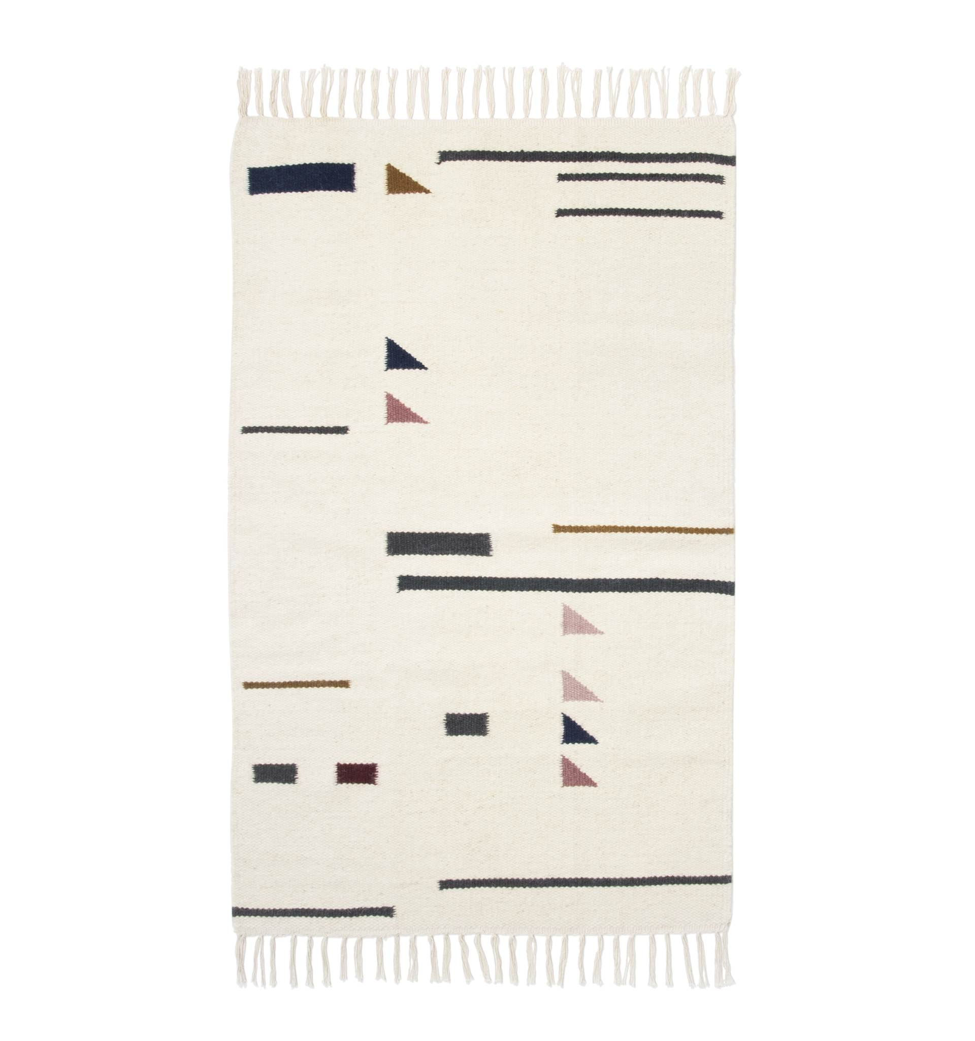 ferm LIVING Vlněný koberec Kelim Triangles S, multi barva, krémová barva, textil