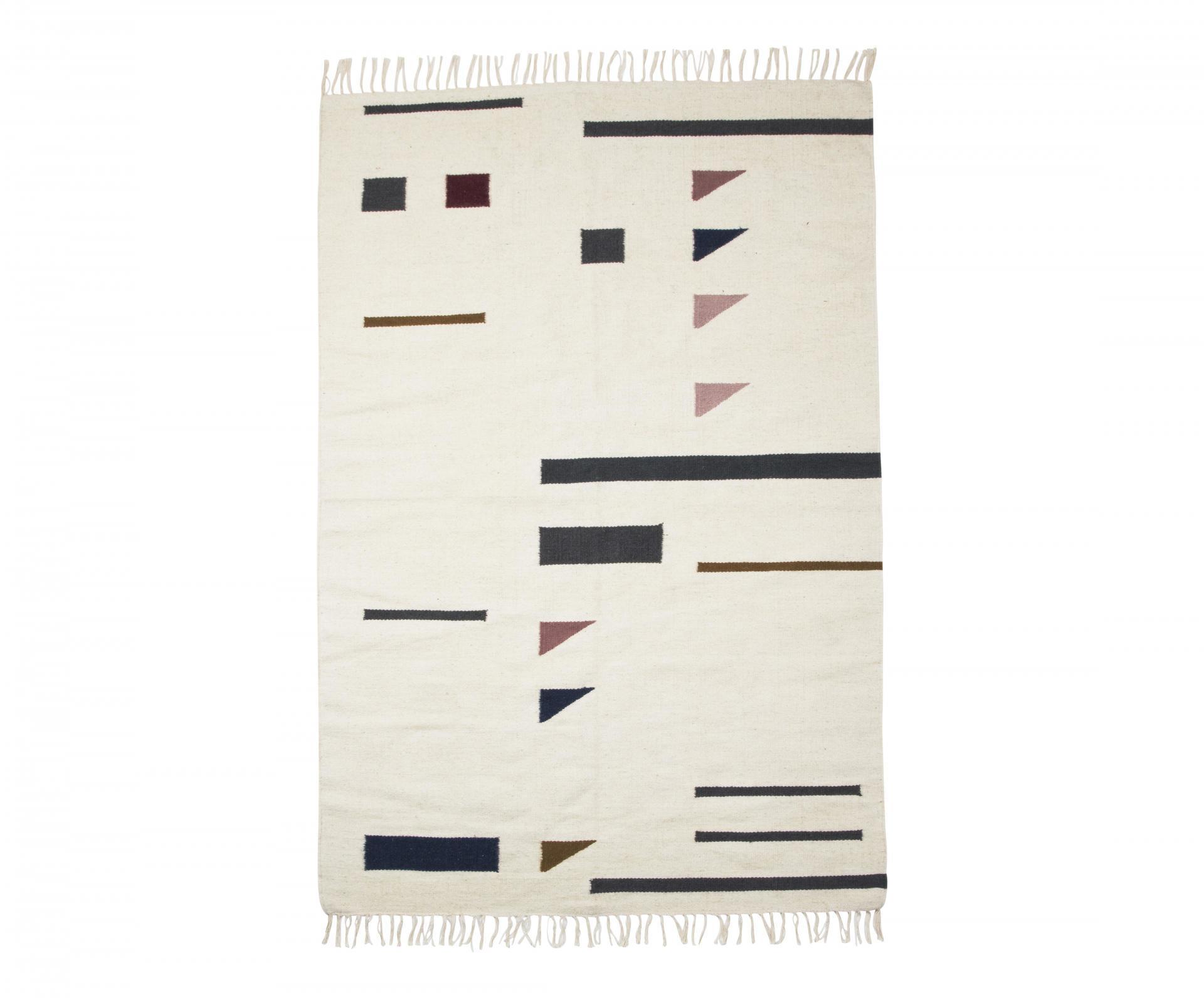 ferm LIVING Vlněný koberec Kelim Triangles L, multi barva, krémová barva, textil