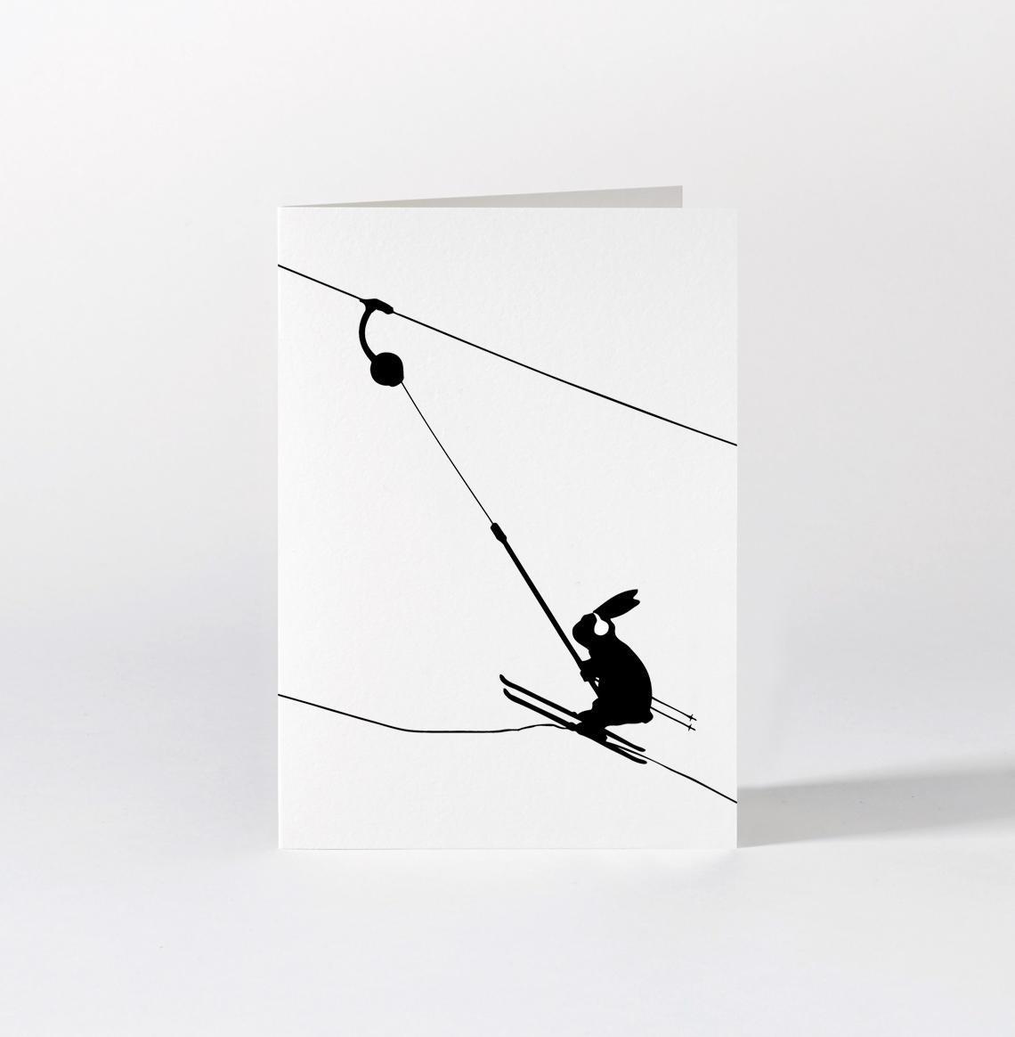 HAM Dárkové přání s králíkem Button Lift, černá barva