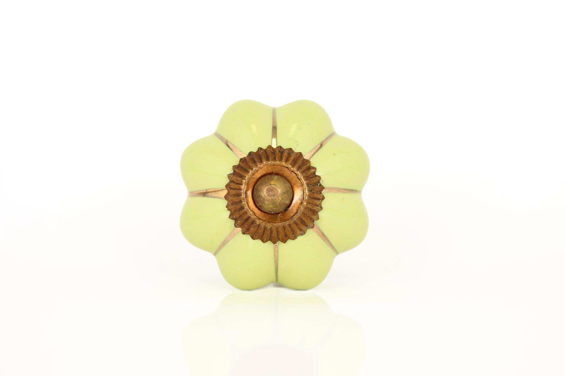 La finesse Porcelánová úchytka Sarah green/gold, zelená barva, porcelán 40 mm