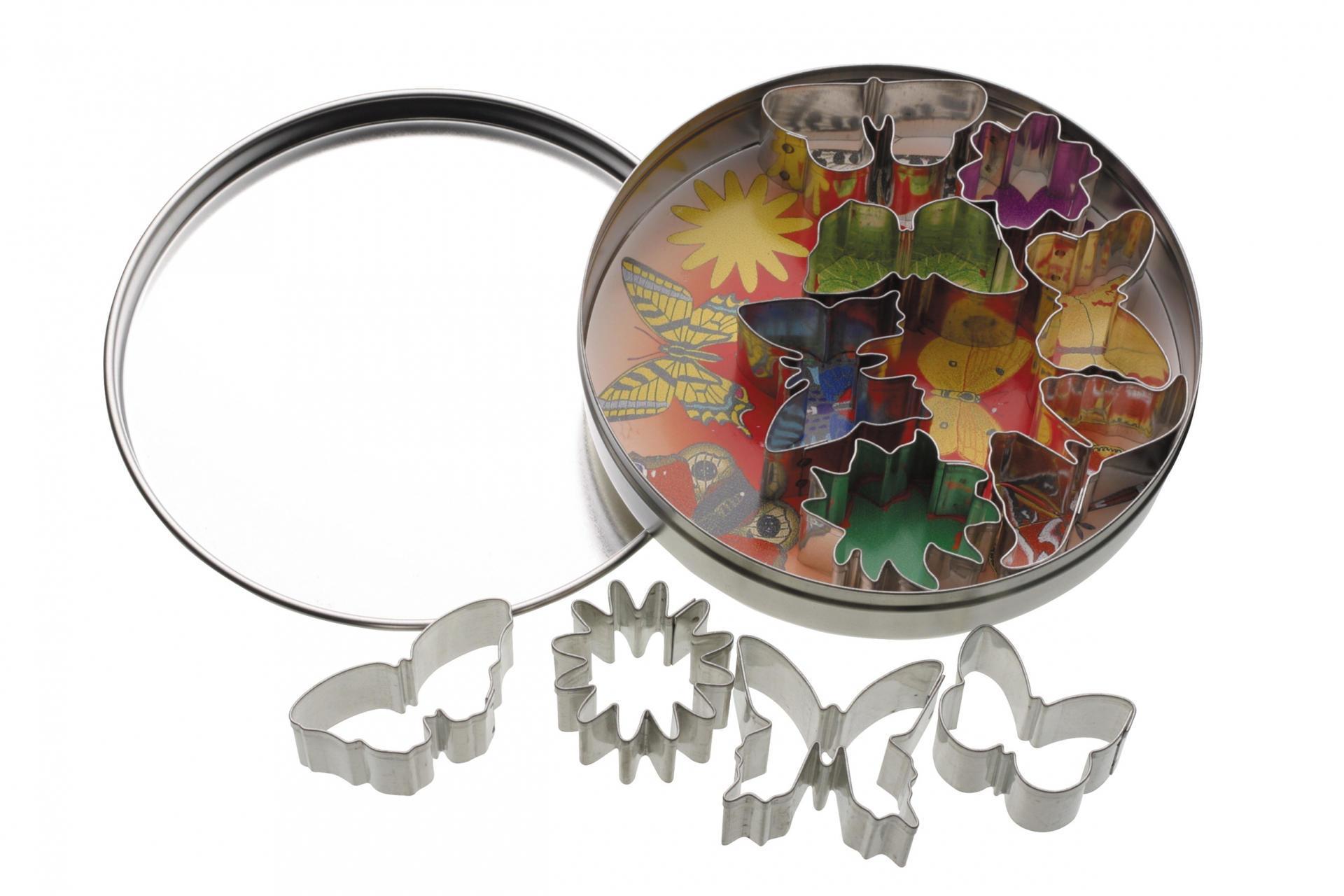 Kitchen Craft Vykrajovátka v dózičce - květiny a motýli - 11 ks, stříbrná barva, kov