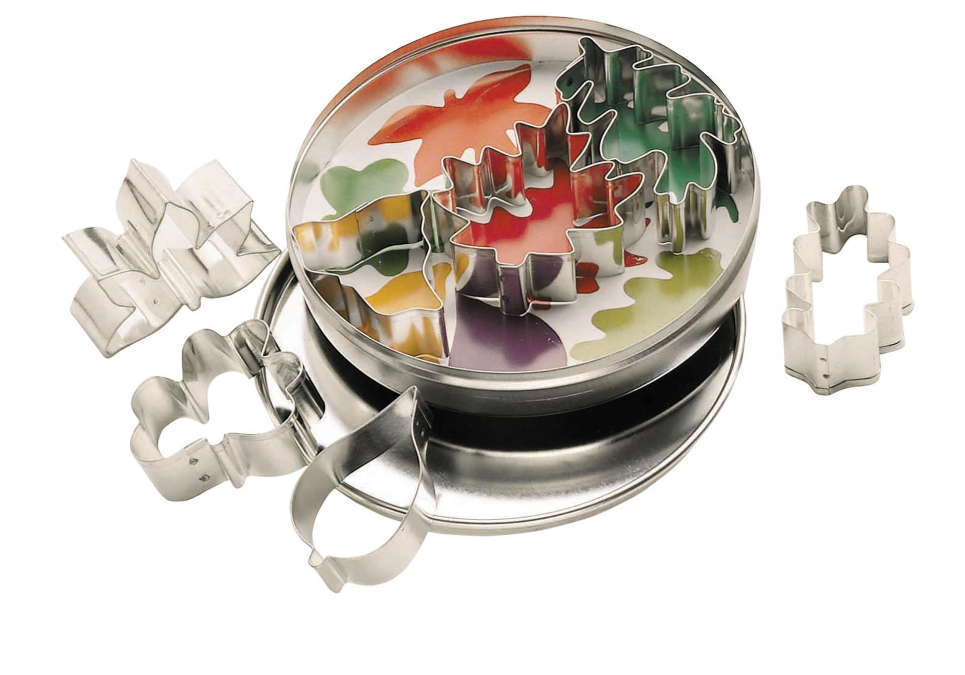 Kitchen Craft Vykrajovátka v dózičce - listy - 7 ks, stříbrná barva, kov