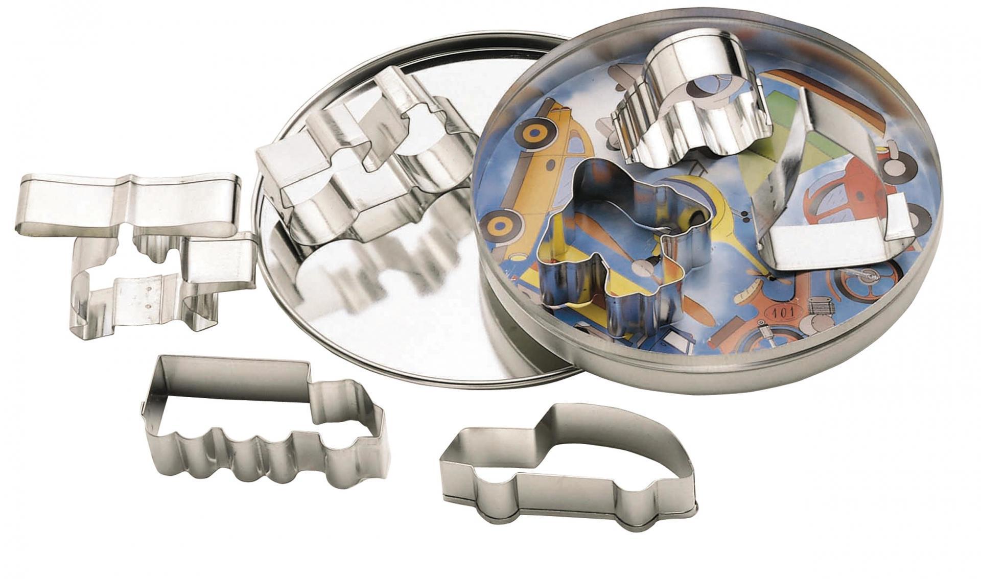 Kitchen Craft Vykrajovátka v dózičce - dopravní prostředky - 7 ks, stříbrná barva, kov