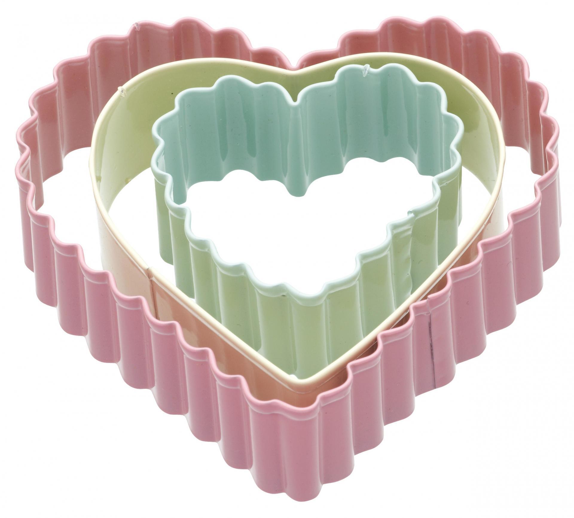 Kitchen Craft Barevná vykrajovátka Heart - 3 ks, růžová barva, zelená barva, žlutá barva, multi barva, kov