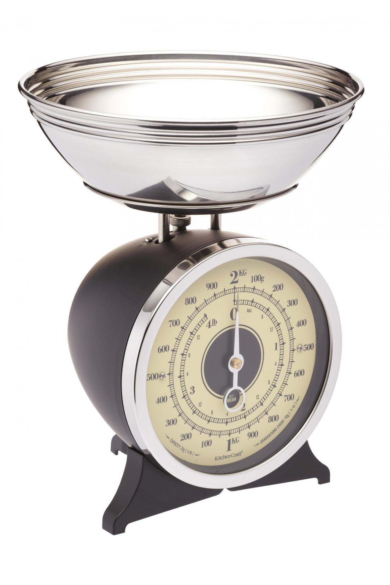 Kitchen Craft Mechanická kuchyňská váha Black - 2 kg, černá barva, kov