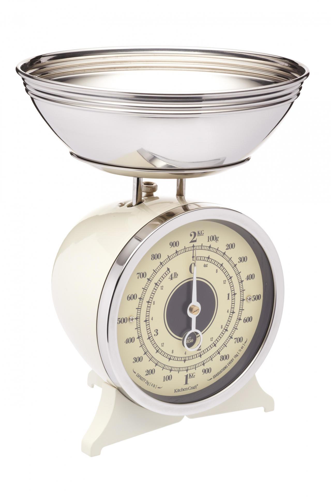Kitchen Craft Mechanická kuchyňská váha Cream - 2 kg, krémová barva, kov