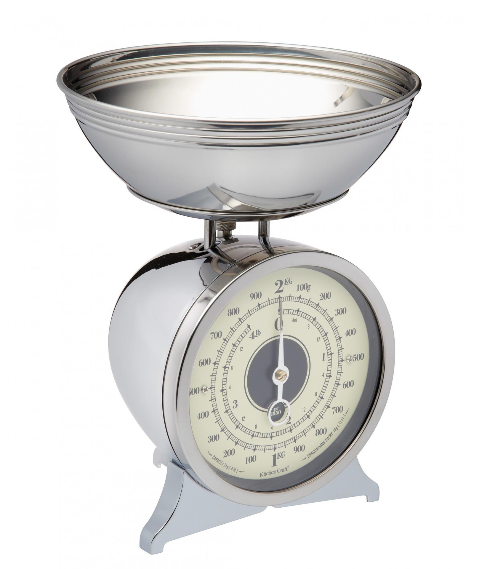 Kitchen Craft Mechanická kuchyňská váha Chrome - 2 kg, stříbrná barva, kov