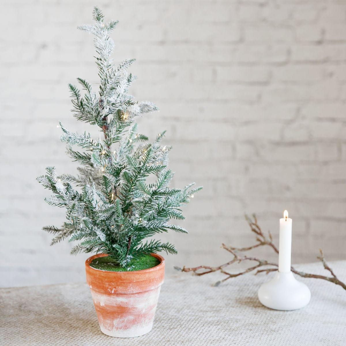 House Doctor Dekorativní stromeček se světýlky Ice, zelená barva, oranžová barva, bílá barva, plast