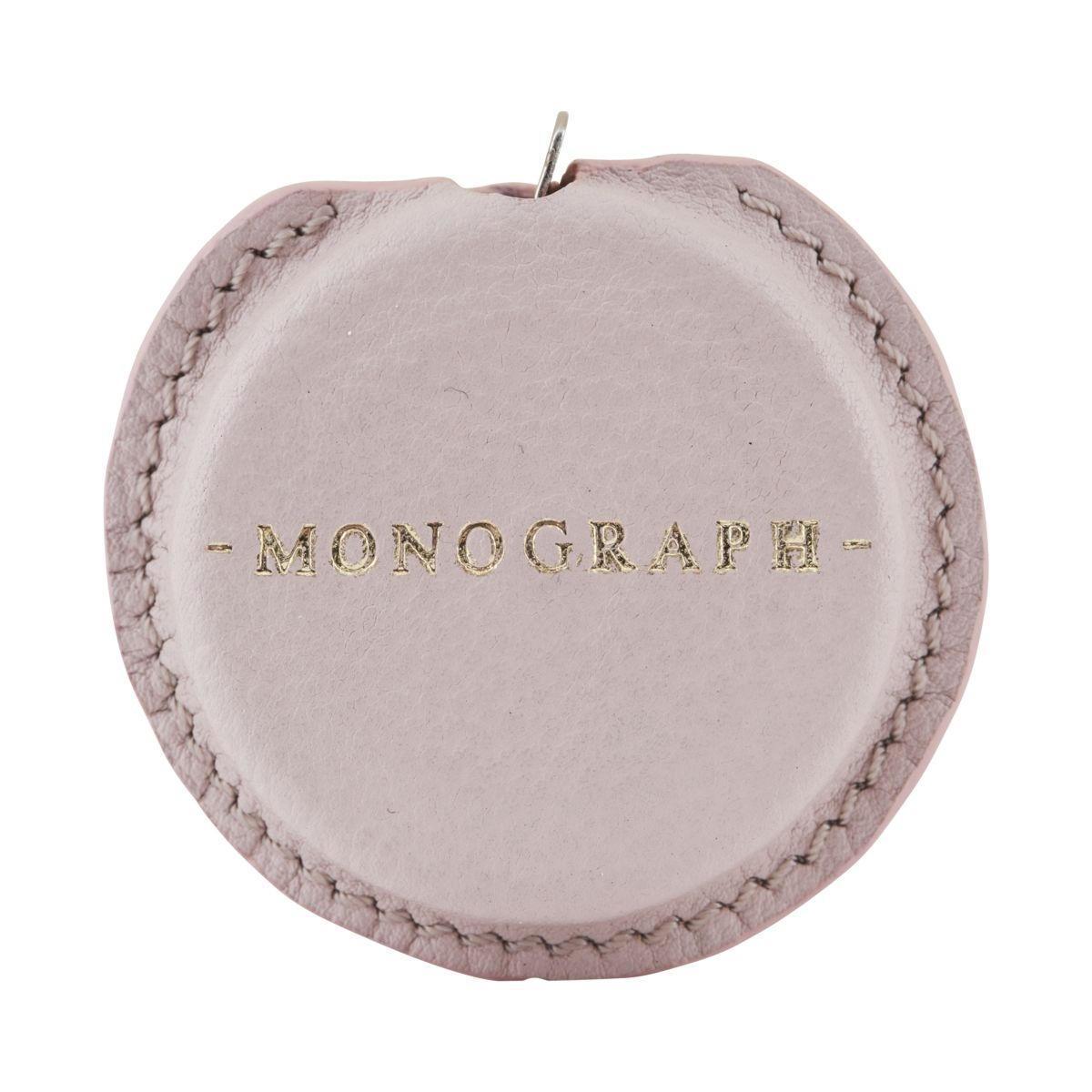 MONOGRAPH Svinovací metr v koženém pouzdře Rose (3 m), růžová barva, kov, kůže