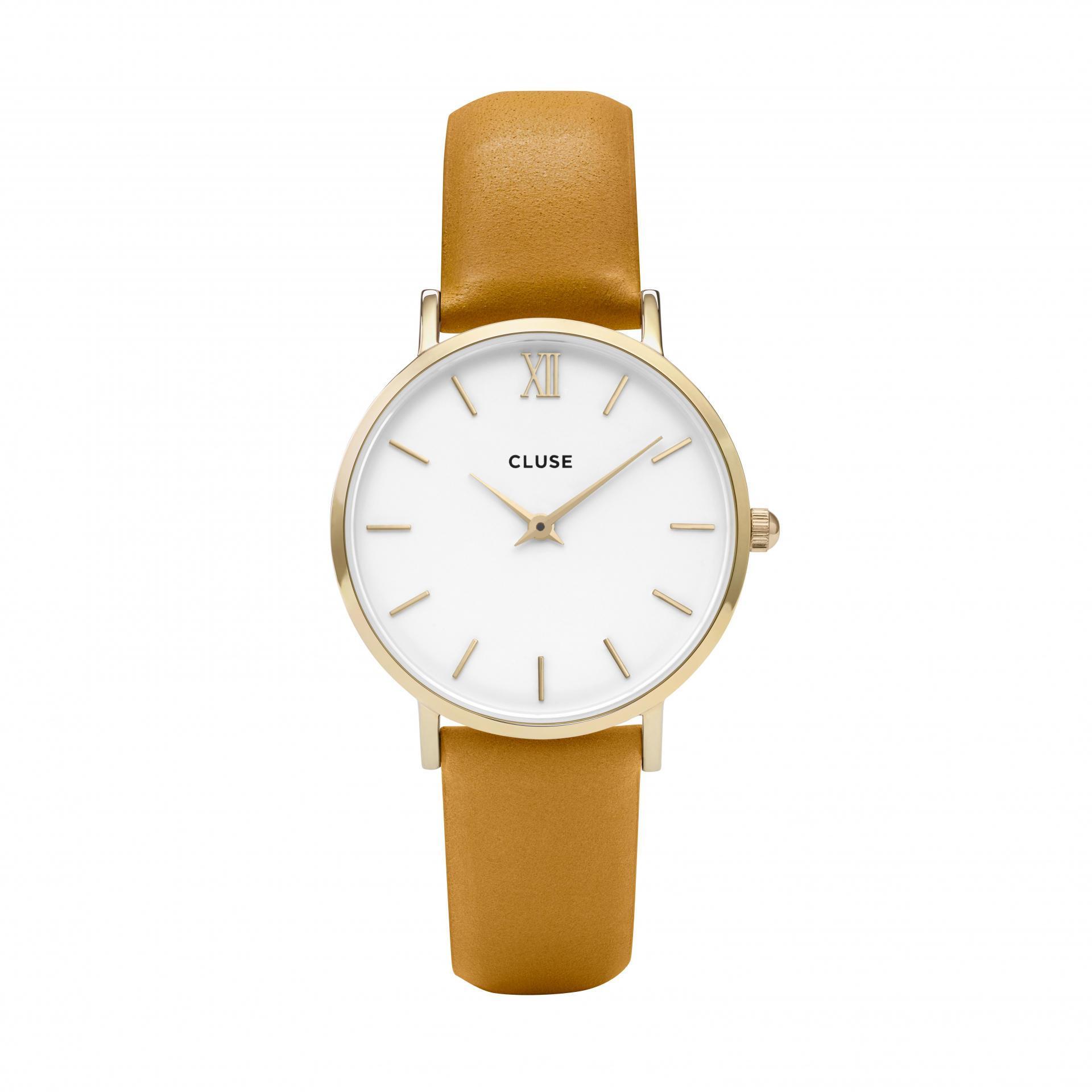 CLUSE Hodinky Cluse Minuit Gold White/Mustard, oranžová barva, kov