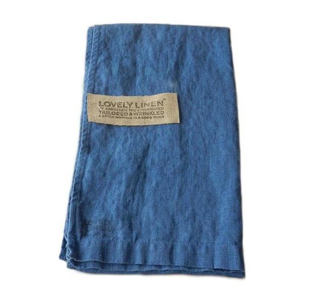 Kardelen Lněný běhoun na stůl Denim Blue, modrá barva, textil