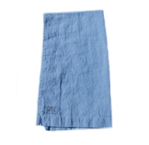 Kardelen Lněný běhoun na stůl Dusty Blue, modrá barva, textil