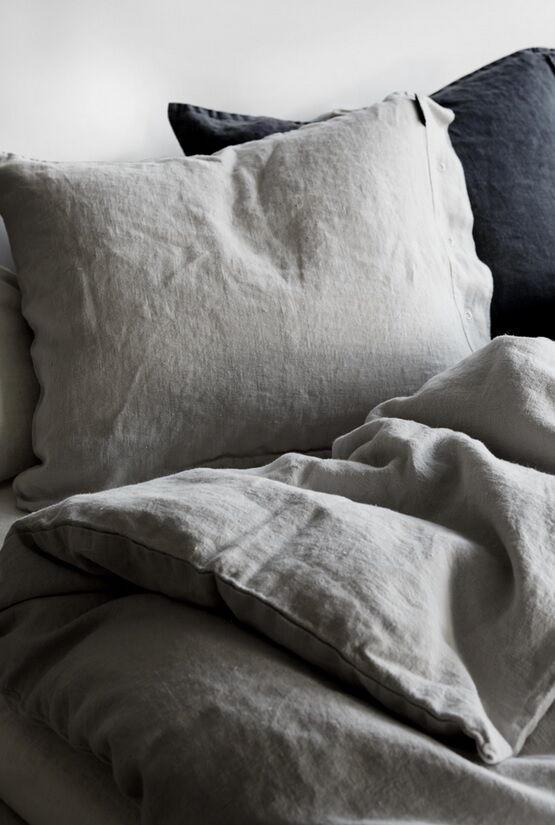Kardelen Přírodní lněné povlečení Light Grey Peřina 135x200 cm, šedá barva, textil