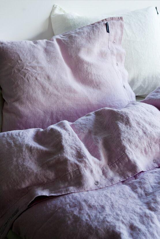 Lovely Linen Přírodní lněné povlečení Dusty Pink, růžová barva, textil