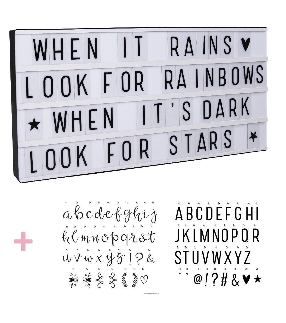 A Little Lovely company Svítící box s nápisy Lightbox Black XL + 2 sady písmenek: Basic a Script