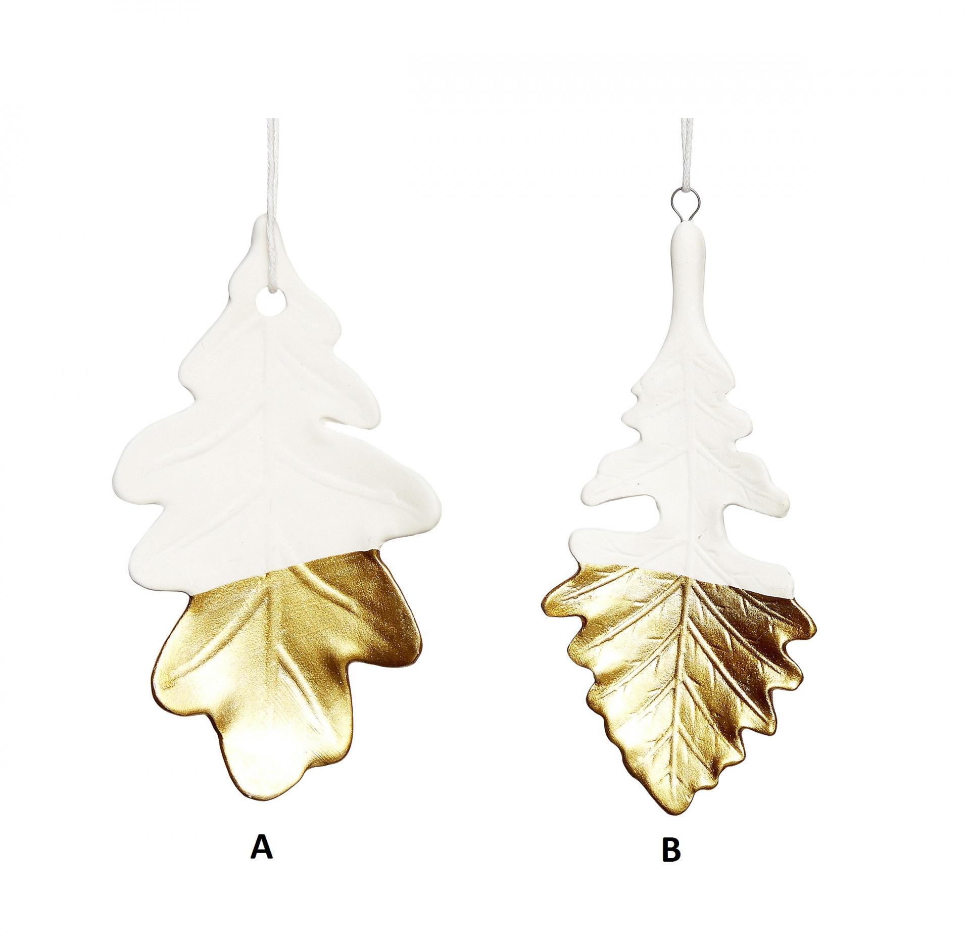 Hübsch Porcelánová ozdoba Leaf White/gold Typ A, bílá barva, zlatá barva, porcelán