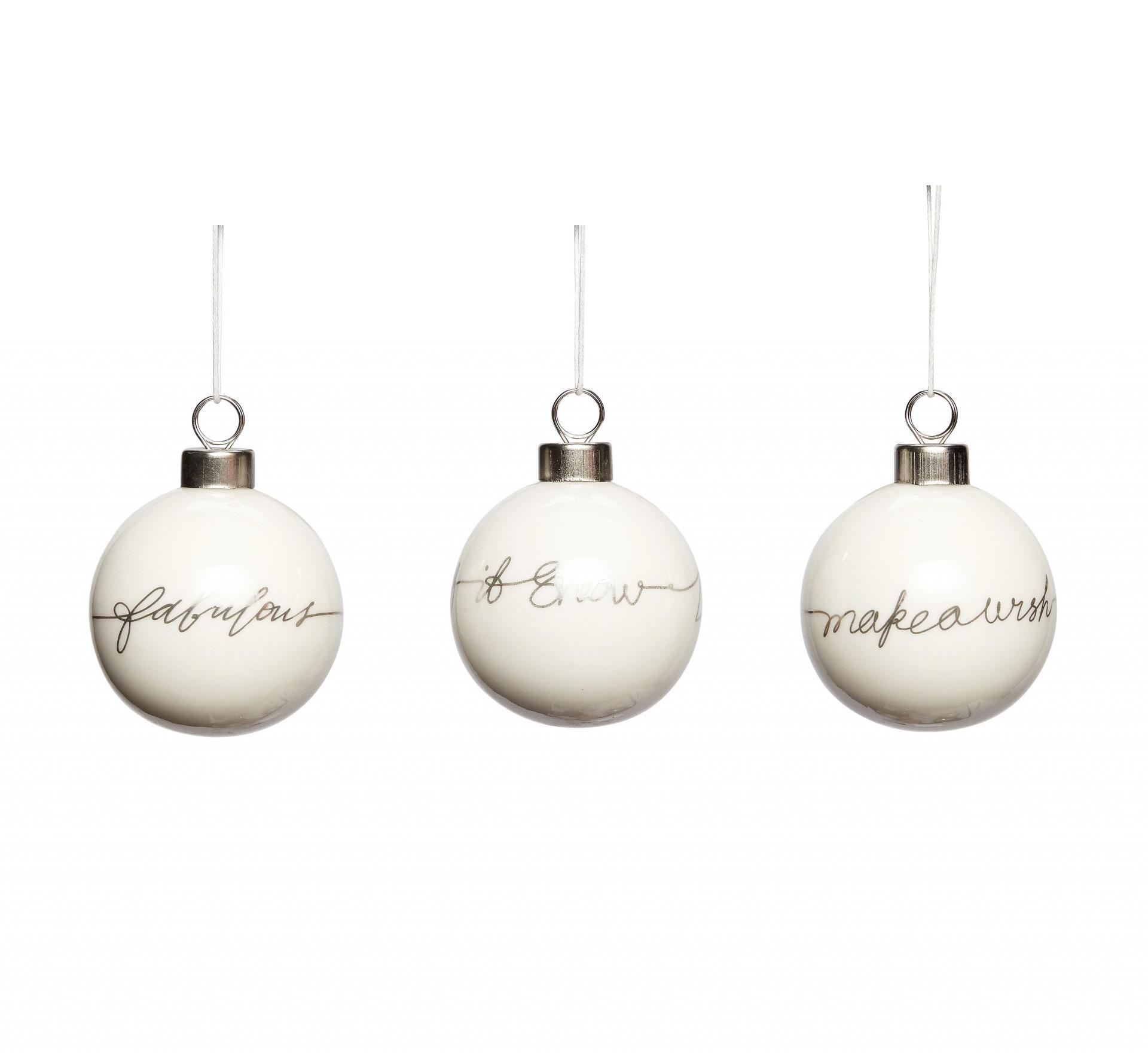 Hübsch Porcelánová vánoční ozdoba White/silver Fabulous, bílá barva, stříbrná barva, porcelán