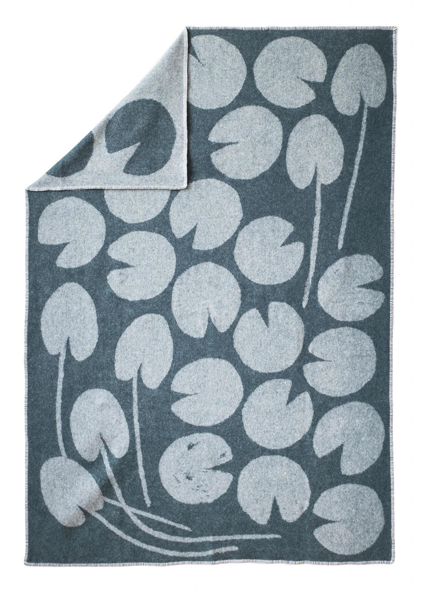 Fine Little Day Vlněná deka Water lilies Green 130x190 cm, zelená barva, textil