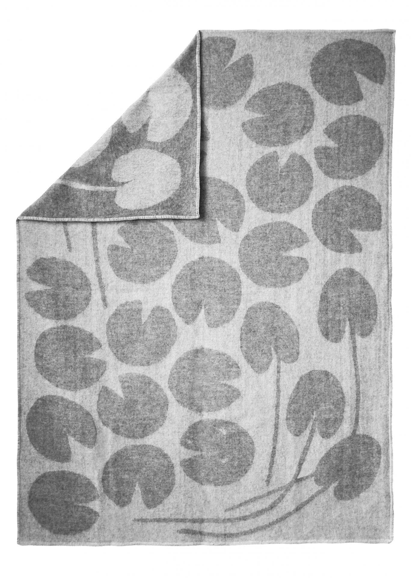 Fine Little Day Vlněná deka Water lilies Grey 130x190 cm, šedá barva, textil