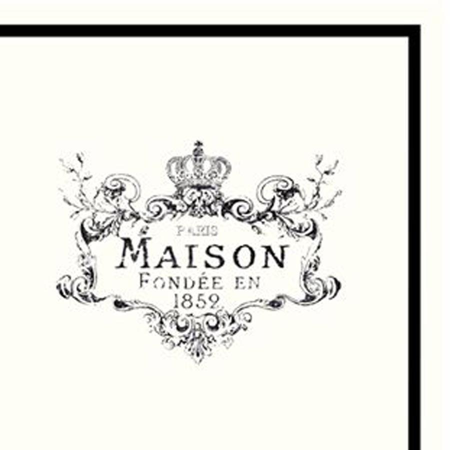 Chic Antique Papírové ubrousky Maison, černá barva, bílá barva, papír