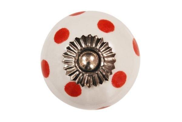 La finesse Porcelánová úchytka Red dots, červená barva, porcelán 40 mm