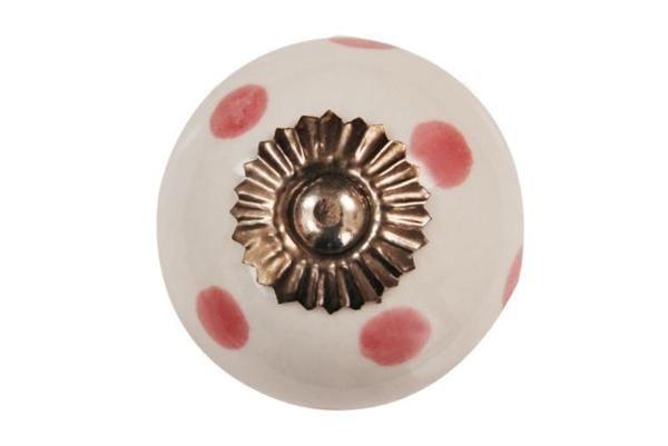 La finesse Porcelánová úchytka Pink dots, růžová barva, porcelán 40 mm