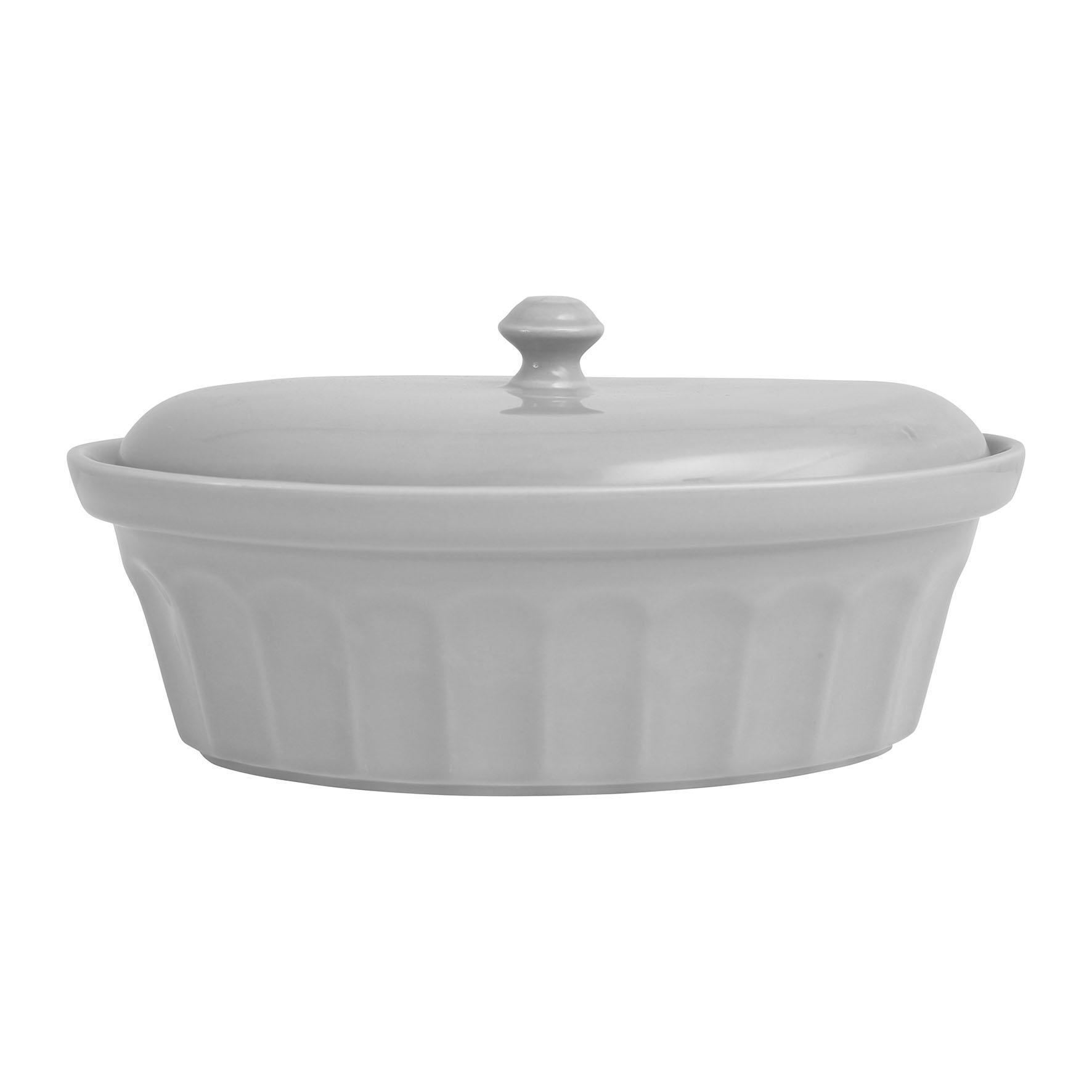 Côté Table Keramická zapékací mísa s víkem Gris, šedá barva, keramika
