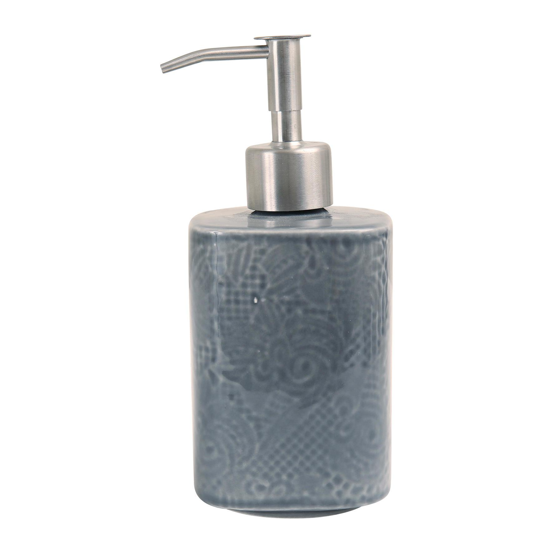 CÔTÉ TABLE Keramický dávkovač na mýdlo Anthracite Lace, šedá barva, keramika