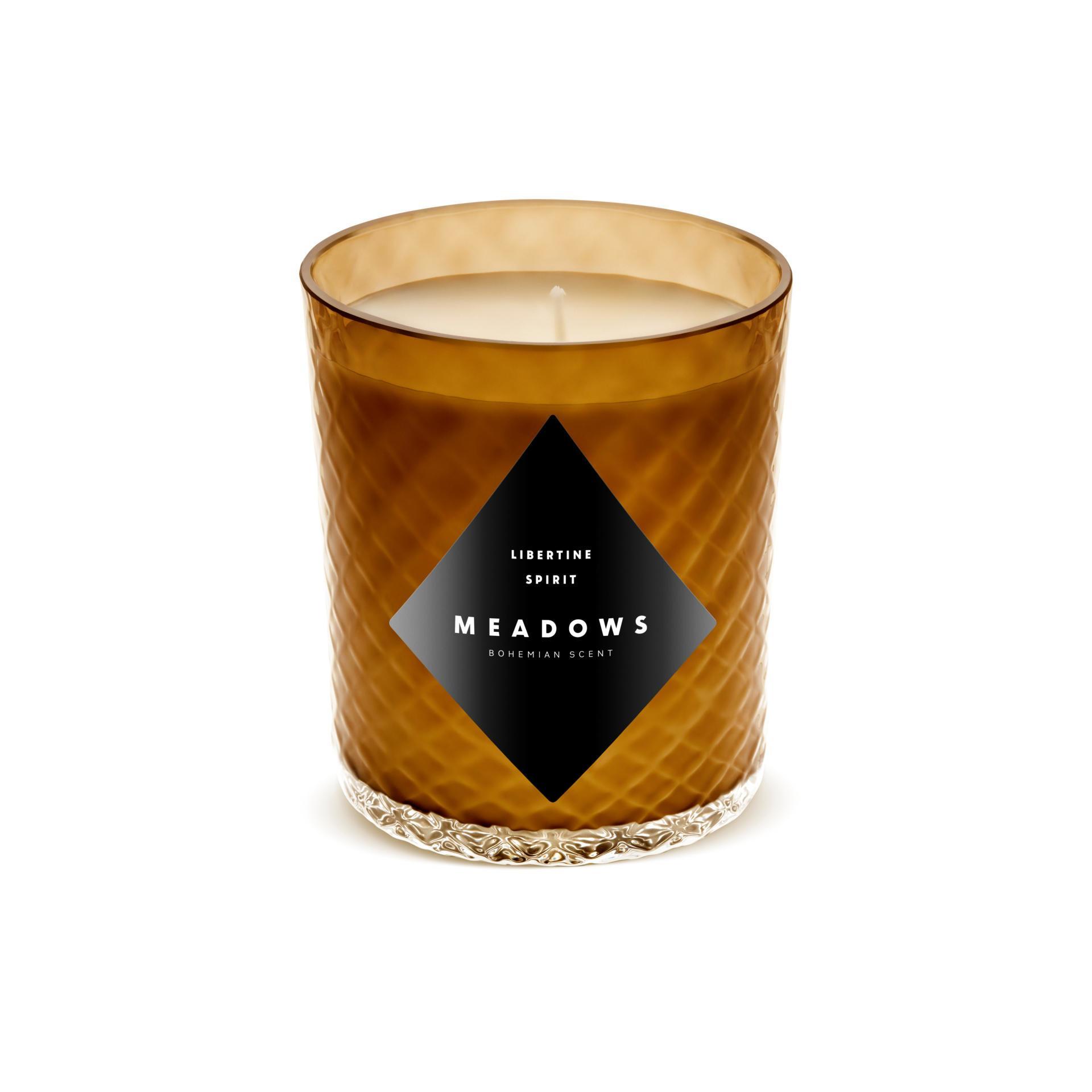 MEADOWS Luxusní vonná svíčka Libertine Spirit, oranžová barva, sklo