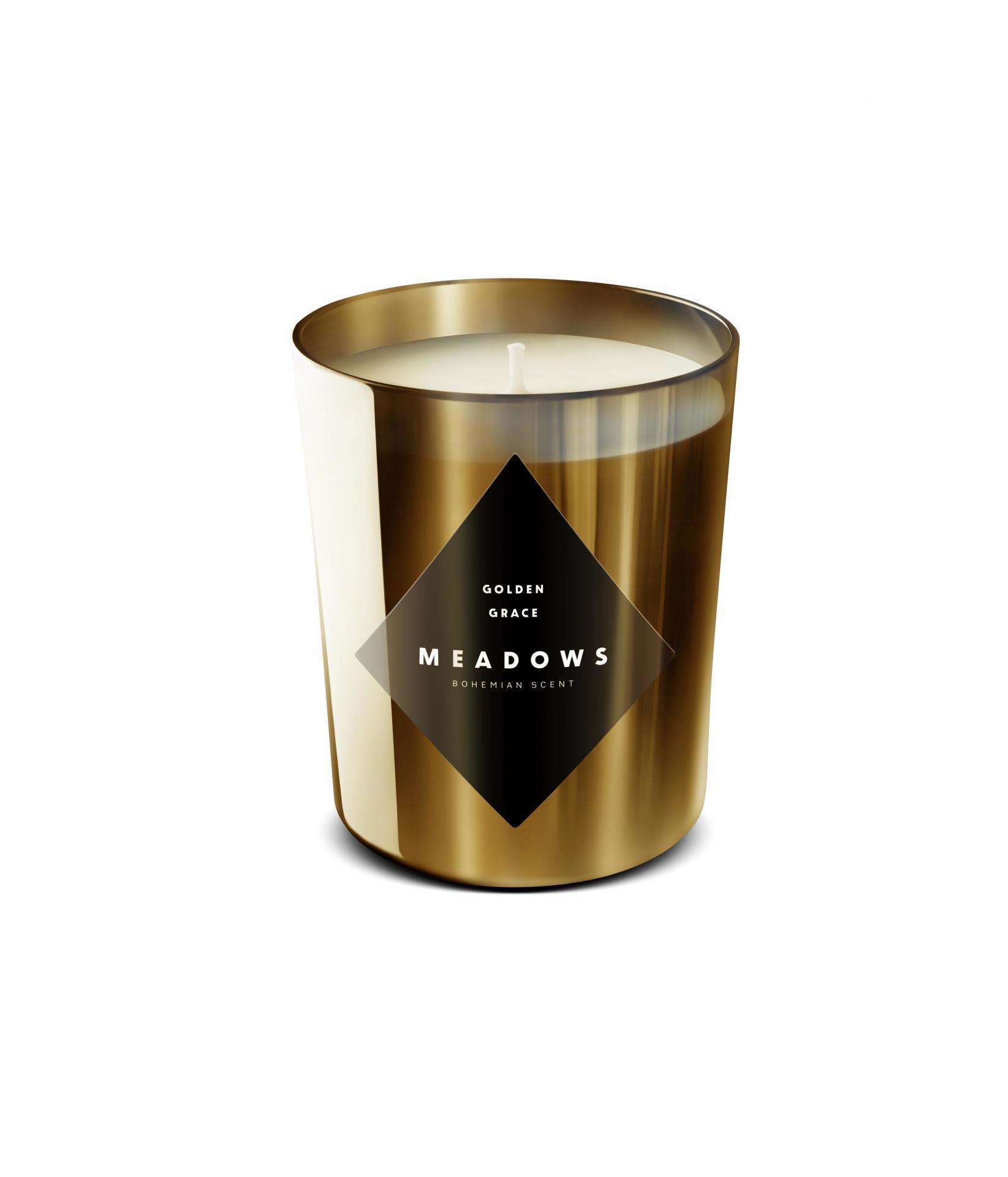 MEADOWS Luxusní vonná svíčka Golden Grace, zlatá barva, sklo