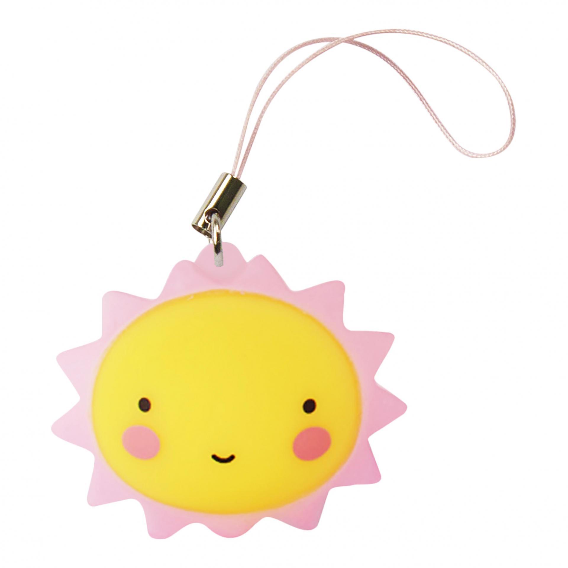 A Little Lovely Company Přívěsek na klíče Sun, růžová barva, žlutá barva, plast