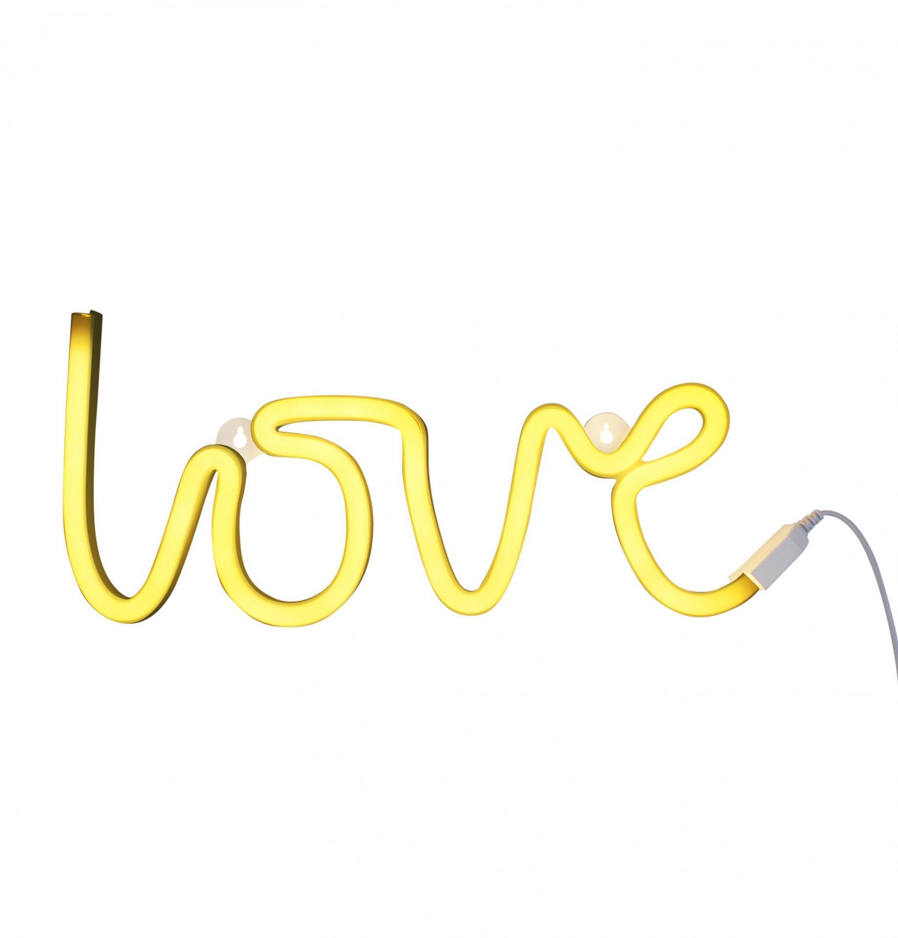 A Little Lovely Company Neonové LED světlo Love Yellow, žlutá barva, plast