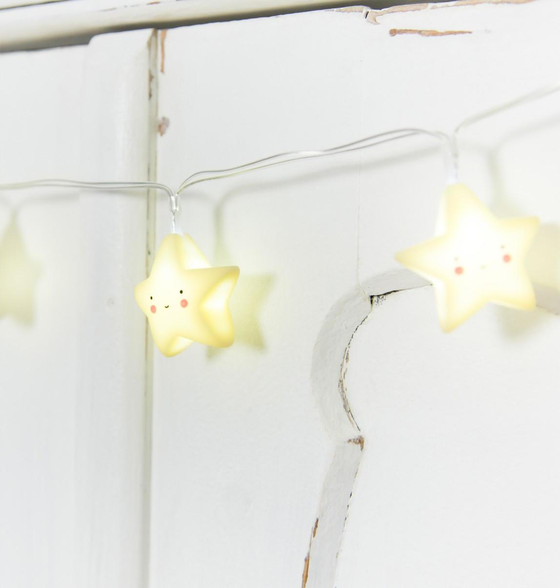 A Little Lovely Company Dětský světelný řetěz Stars Yellow, žlutá barva, plast