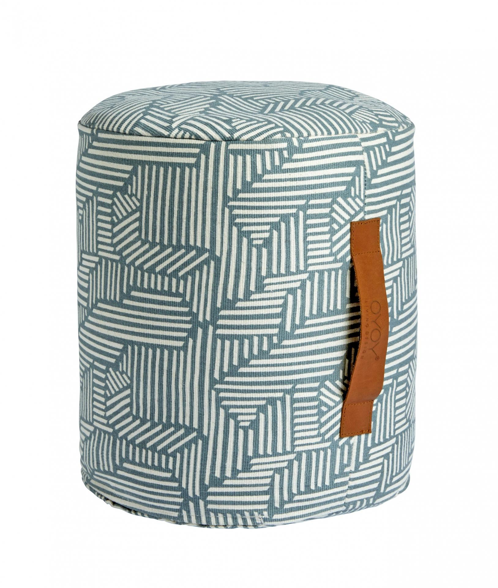 OYOY Sedací puf Paddy Tourmaline, zelená barva, šedá barva, plast, textil
