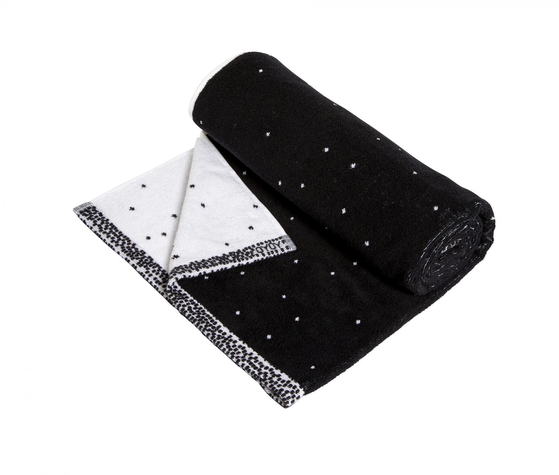 OYOY Froté ručník Dotty Black/white 50x100 cm