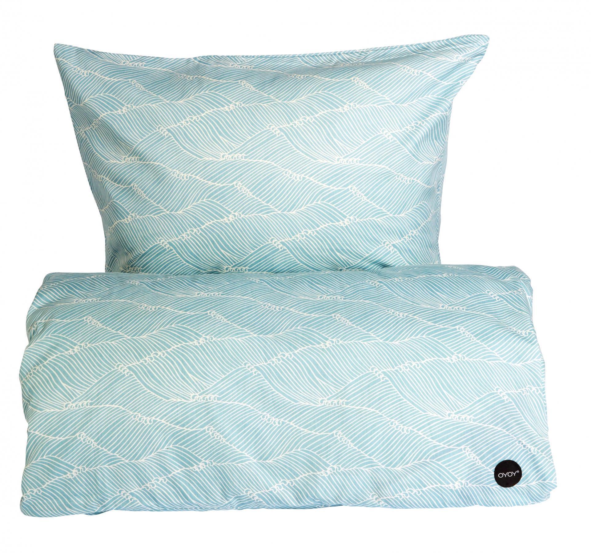 OYOY Povlečení na jednolůžko PoiPoi Dusty aqua 140x200 cm, modrá barva, textil