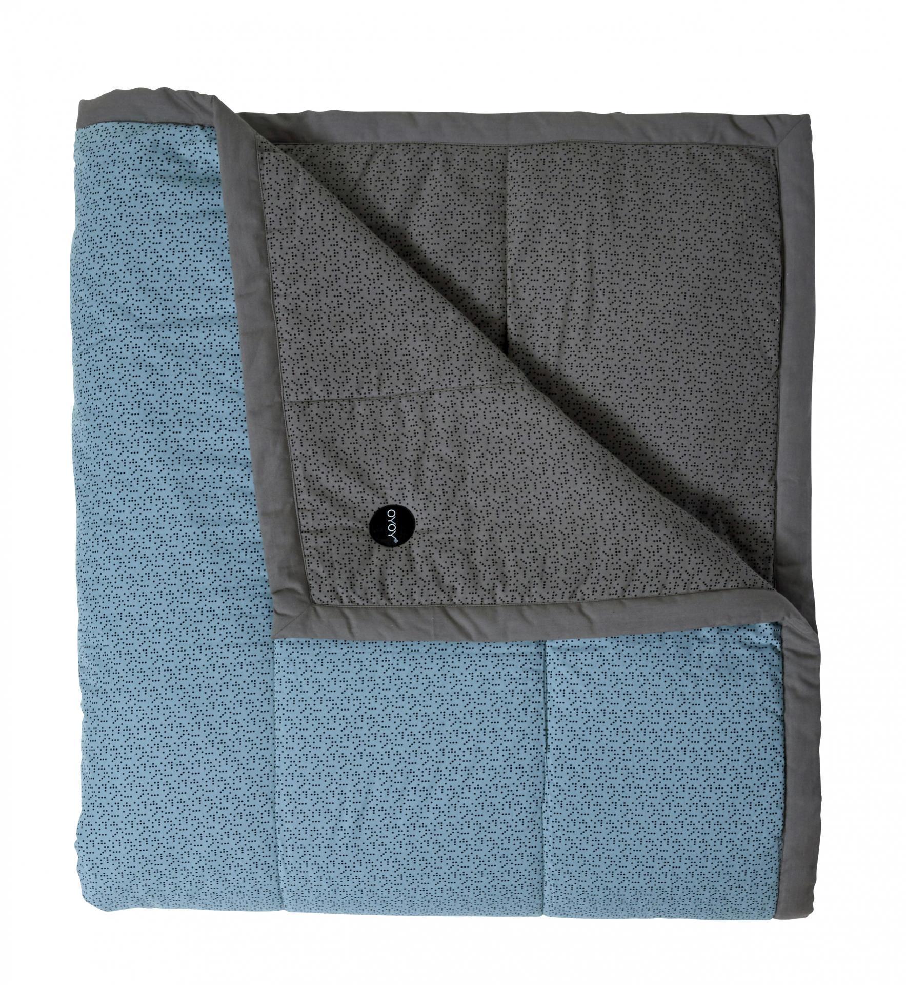 OYOY Prošívaný přehoz Tenji Grey/dusty aqua 140x200 cm, modrá barva, šedá barva, textil