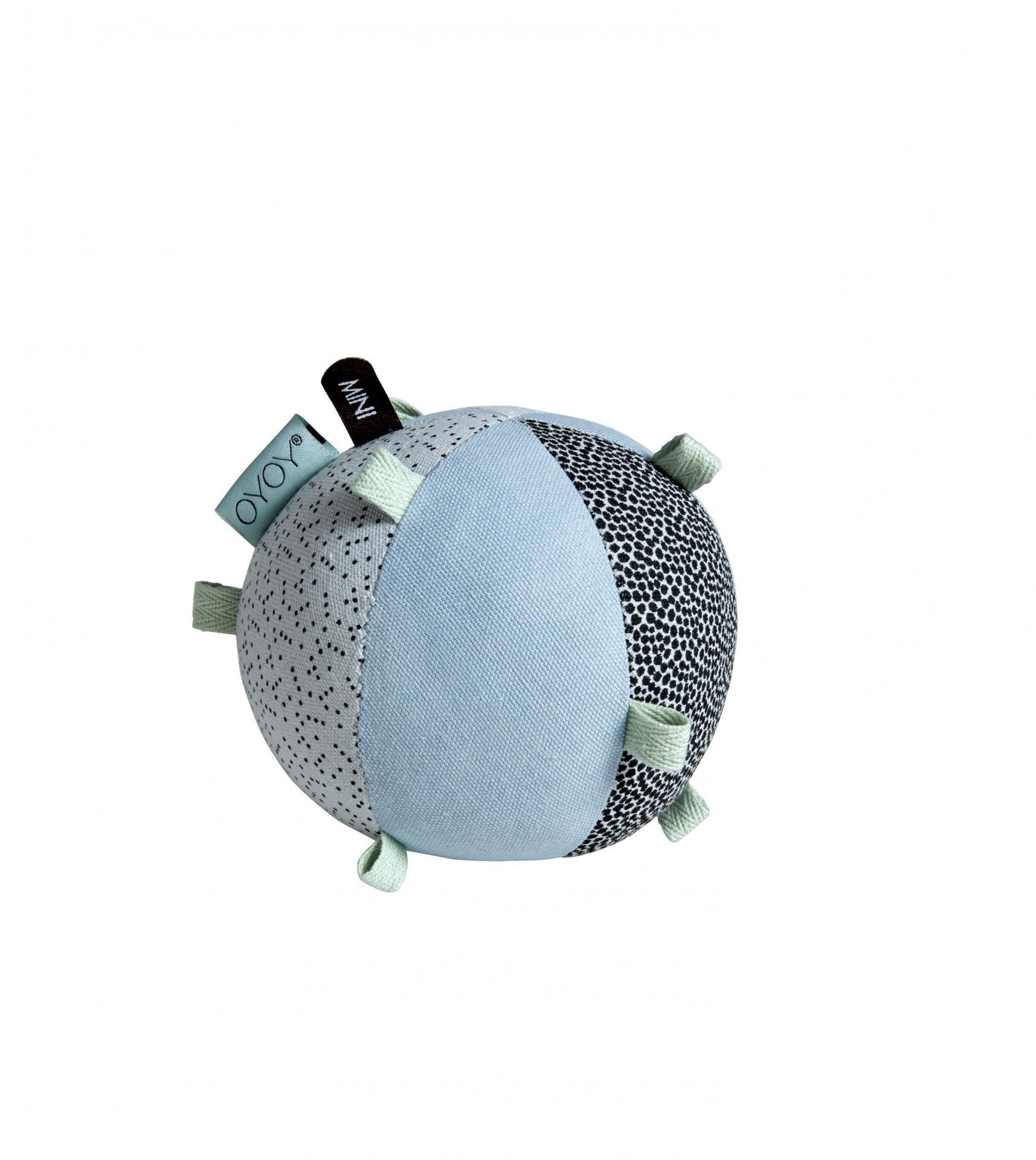 OYOY Textilní hračka pro miminka Ball Dusty aqua, modrá barva, šedá barva, textil