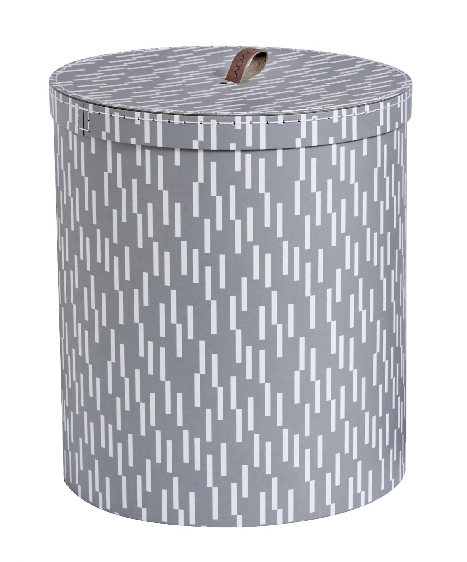 OYOY Kulatý úložný box Dash Grey, šedá barva, papír, kůže